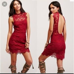 Free People Cherry Red Lace Dress